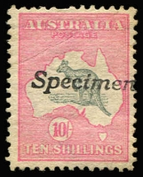 Lot 527:10/- Handstamped 'SPECIMEN' Type A BW #47x, flattened corner crease & pulled perf, Cat $750.
