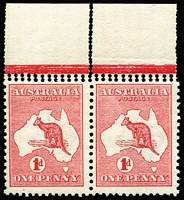 Lot 510:1d Red Die II marginal pair variety Double perforations horizontally at top, and vertically through sheet margin  BW #3b, fresh MUH, Cat $1,000+.