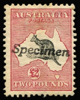 Lot 529:£2 Grey & Deep Rose Handstamped 'Specimen' Type A BW #55x, couple light gum creases, few nibbed perfs, Cat $850.