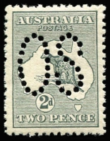 Lot 514:2d Grey Perf Large 'OS' variety Scratch under 'P' of 'POSTAGE' [2R10] BW #5bb(2)g, very well centred, fresh MUH, extrapolated Cat $750.