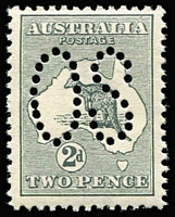 Lot 513:2d Grey Perf Large 'OS' BW #5bb, well centred, fresh MUH, Cat $300.