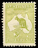 "Lot 513:3d Olive Die I variety Kiss print BW #12cb affecting coast of Australia, upper half of right frameline and kangaroo's back, some nibbed perfs, fine mint overall, undercatalogued at $1,500. [Brusden White state ""approximately 10 examples recorded"" (mint or used)]"