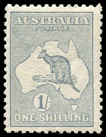 Lot 35:1/- Dull Green BW #31C, very well centred, regummed, Cat $1,250 .