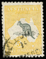 Lot 540:5/- Deep Grey & Yellow BW #43, well centred, fine used, Cat $675.