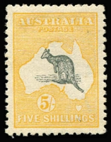 Lot 539:5/- Deep Grey and Yellow BW #43, barely noticeable tiny thin, excellent centring, fine mint overall, Cat $1,500.
