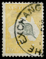 Lot 549:5/- Grey & Yellow BW #43a, fine used, Cat $675.