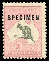 Lot 583:10/- Grey & Pale Pink overprinted 'SPECIMEN' Type C Sub-type 2 (shaved 'P'), and Damaged grass right of roo etc [R56] BW #49xd, mildly aged gum, MVLH, Cat $1,750.