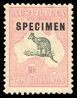 Lot 582:10/- Grey & Pale Pink Optd 'SPECIMEN' Type C overprint variety Sub-type 1 (shaved 'C') BW #49xb, uniform mild gum tone, small gum thin above hinge, very well centred, Cat $1,750.