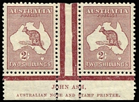 Lot 615:2/- Maroon Plate 2 Ash 'N' over 'N' imprint pair BW #39(2)za, fine mint, Cat $1,000.