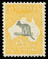 Lot 577:5/- Grey & Yellow-Orange BW #45A with Extra line of yellow ink stretching from inland NSW to outside of frameline at right, excellent centring, fresh MVLH, Cat $400+. Starling Certificate (2018).