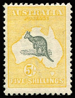 Lot 553 [1 of 2]:2d to 5/- Set including 1/- Die IIB Watermark sideways, most values are regummed, Cat $1,800 (as mint hinged). (10)