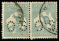 Lot 60 [1 of 2]:1/- Blue-Green Die IIB Perf 'OS' pair left unit variety Value circle broken at base [3L52,58 & 3R42] BW #33(3) used; also same variety on a single 1/- CTO, Cat $140+. (2 items).