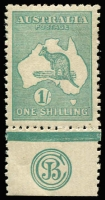 Lot 552:1/- Blue-Green Die II Plate 2 (lower position) 'JBC' Monogram single BW #32(2)zc, excellent centring, fresh MLH, Cat $3,250.
