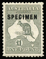 Lot 226:£1 Grey Optd 'SPECIMEN' Type C overprint variety Sub-type 2 (shaved 'P') BW #53xf, very well centred, MLH, Cat $1,000.