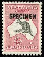 Lot 571:£2 Grey-Black & Crimson [L60] with Type B 'SPECIMEN' overprint BW #56x, rich colour & full perfs, without gum, Cat $500.