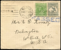 Lot 545:2d Deep Grey Die I unlocated variety Colour flaw at SE Corner BW #7(U)d plus ½d green KGV on 1917 (Mar 29) cover from Bendigo to USA, 'PASSED' censor handstamp below stamps. Rare variety on cover.