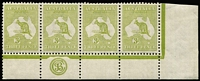 Lot 561:3d Olive Die I lower left corner strip of 4 with 'JBC' Monogram and varieties Break in top frame over 'ST' of 'AUST' [1R58] and White flaws under 'CE' of 'PENCE' [1R60] BW #13(1)zb, well centred, mounted in selvedge only, stamps fresh MUH, Cat $6,175++.