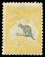 Lot 562:5/- Grey & Pale Yellow BW #44D variety Kangaroo's ears missing [L44] BW #44D, an eyecatching example of this rare flaw from the late period 3rd Wmk printings, trivial gum imperfection, MUH, Cat $2,000 plus a significant premium for the flaw. Starling Certificate (2018).