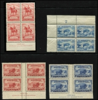 Lot 761 [2 of 4]:KGV-Early QEII Imprint & Plate Number Array mostly in mint blocks of 4 including 1934 Macarthur 2d & 3d and 1935 Jubilee 2d & 3d Ash Imprint blocks (lower units MUH), 2d Jubilee plate no blocks of 4 x9, 3d Jubilee Plate 1 upper-right block of 4, KGVI imprint blocks to 1/4d x2, etc, plus some non plate/imprint material; condition variable but mostly fine. (approx 140 items).