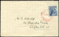 Lot 762:1928 3d Kookaburra BW #133MS single tied to Exhibition envelope by '29OC28' FDI cancel in red.