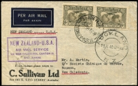 Lot 765 [1 of 2]:1931-38 6d Kingsford Smith Airmail BW #144 pair used on 1939 (Aug 31) C. Sullivan (Sydney) commercial cover to New Caledonia utilising the NZ-New Caledonia leg of the NZ-USA Airmail Service flight departing Auckland 19 July 1940, arriving at Noumea on 20th July (backstamp), very fine condition.