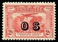 "Lot 764 [2 of 2]:1931 Kingsford Smith Overprinted 'OS' 2d carmine-red & 3d bright blue BW #141(OS)-142(OS), fine MLH, Cat $575. Ceremuga Certificate (2017) states ""Genuine in all respects""."