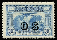"Lot 764 [1 of 2]:1931 Kingsford Smith Overprinted 'OS' 2d carmine-red & 3d bright blue BW #141(OS)-142(OS), fine MLH, Cat $575. Ceremuga Certificate (2017) states ""Genuine in all respects""."
