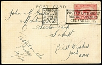 Lot 286 [1 of 2]:1932 2d Sydney Harbour Bridge BW #146 tied by Harbour Bridge '1932/20MAR' Opening Celebrations slogan cancel to PPC (few corner wrinkles) showing Harbour Bridge, addressed to WCS founder John M Gower at his Seaton Park address.
