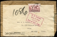 Lot 287:1934-49 1/6d Hermes (No Watermark) BW #161 tied by Sydney datestamp to parcel label addressed to USA, fine strike of 'US Customs/Free of Duty/-Outside-/Port of New York' boxed handstamp beneath.