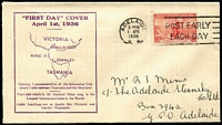 Lot 506 [3 of 4]:1936 Cable set tied to matching SA Stamp Company FDCs by Adelaide '1APR36' FDI slogan datestamps. (2)
