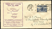 Lot 506 [1 of 4]:1936 Cable set tied to matching SA Stamp Company FDCs by Adelaide '1APR36' FDI slogan datestamps. (2)