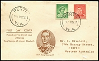 Lot 385:1937 1d & 2d tied to illustrated Mitchell FDC by Perth '10MY37' FDI datestamps.