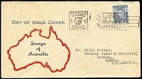 Lot 394:1937 3d Blue Die I White Wattles tied by Brisbane '2AUG/1937' FDI slogan cancel to generic Smyth FDC, typed address to USA.