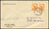 Lot 511:1938 ½d Orange Roo pair tied by Carlton North (Vic) FDI datestamp on Miller Bros FDC, typed address to New Zealand. Rare.