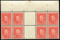 Lot 782:1941-44 2d Scarlet Die II Plate No '4' (complete) top centre gutter block of 8 BW #188zc, very fine mint with seven units MUH, Cat $2,500+.