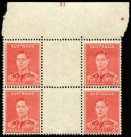 Lot 784:1941-44 2d Scarlet Die II Plate No '11' (largely complete) top centre gutter block of 4 BW #188zi, very fine mint with three units MUH, Cat $3,000.