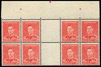 Lot 206:1941-44 2d Scarlet Die II Plate No '4' top centre gutter block of 8 BW #188zc, fine mint with four units MUH, Cat $2,500+ (as a gutter block of 4).