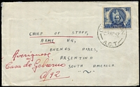 "Lot 892:1946 3½d Mitchell BW #240 solo franking, paying surface rate, tied by Duntroon (ACT) '9AP47' datestamp to Royal Military College (crest on flap) cover to Chief of Staff (Army), Buenos Aires, Argentina, alongside address mss marking ""Averiginese/Casa de Gobierno"" (refer/check with Government House). Nice usage item sent during Peron's first term as president."