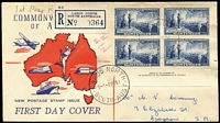 Lot 781 [3 of 6]:1951 Federation set in imprint blocks of 4 tied to seperate matching registered Wide World FDCs by Largs North '1MY51' FDI datestamps. Rare as an imprint set. (3)