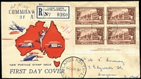 Lot 781 [1 of 6]:1951 Federation set in imprint blocks of 4 tied to seperate matching registered Wide World FDCs by Largs North '1MY51' FDI datestamps. Rare as an imprint set. (3)