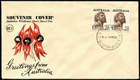 Lot 763:1952 2/6d Aborigine pair tied to Wesley Sturt's Desert Pea souvenir envelope by back-dated Largs North '19MR52' FDI datestamp, fine unaddressed condition.