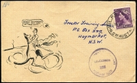 Lot 813:1953-59 1d Violet QEII BW #293 solo franking tied by MILPO datestamp to 1955 concession rate cover to Haymarket (NSW), comical printed illustration. Nice usage item.