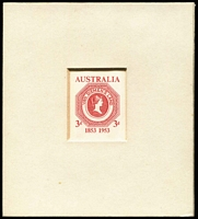 "Lot 900 [1 of 2]:1953 3d Tasmania Sesquicentenary Sunken Die Proof with CBA ""24/21.10.53"" cachet on reverse, presented to Sir D. Lindsay (Stamp Advisory Committee) BW #307DP(1), Cat $3,000. Only 8 Proofs prepared."