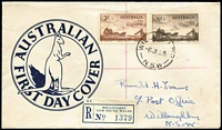 Lot 488 [1 of 2]:Cole (RN) 1955 Cobb & Co duo tied to generic design registered FDC by Willoughby (NSW) '6JL55' FDI datestamp. Very late, possibly unique, use of the 'Kangaroo' envelope, first used in 1938.