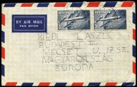 Lot 292:1958 2/- QANTAS Constellation BW #340 x2 tied by Wayatinah (Tas) datestamps to 1958 (Jan 22) small airmail cover to Hungary. Elusive double-rate usage.