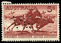 Lot 275 [2 of 2]:1961 5/- Cattle Cream Paper Perf 'VG' BW #373 pair (lower unit MUH) & single. (3)