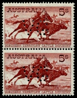 Lot 275 [1 of 2]:1961 5/- Cattle Cream Paper Perf 'VG' BW #373 pair (lower unit MUH) & single. (3)