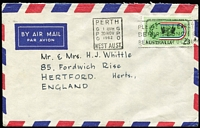 Lot 289:1962 2/3d Commonwealth Games BW #391 solo franking on 1962 (Nov 30) airmail cover to England, Cat $75 on commercial cover.