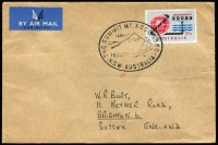 Lot 294:1963 2/3d Commonwealth Cable BW #411 tied by Mt Kosciusko (NSW) pictorial datestamp to 1963 (Dec 16) small airmail cover to England, Cat $90+.