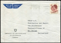 Lot 293:1963 2/3d Royal Visit BW #393 paying airmail rate on 1963 (May 28) Swiss Embassy (Canberra) cover to St Gallen, Switzerland, typed address. Fine commercial usage.